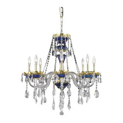 Elegant Lighting - Elegant Lighting 7810D26BE Alexandria 8-Light, Single-Tier Crystal Chandelier, F - Elegant Lighting 7810D26BE Alexandria 8-Light, Single-Tier Crystal Chandelier, Finished in Blue with Clear CrystalsElegant Lighting 7810D26BE Features: