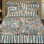 Rose Tree - Rose Tree Flora 4-Piece King-size Comforter Set - Make your bedroom an oasis of comfort with this floral king-size comforter set. Complete with comforter,bed skit and two shams,this bedding set is made from 100 percent cotton with an allover floral print and taffeta plaid that is inviting and unique.