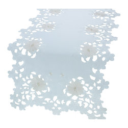 Xia Home Fashions - Daisy Divine 16-Inch By 34-Inch Table Runner - Elegant daisy florals are embroidered in classic tones in this exquisite cutwork table linens collection!