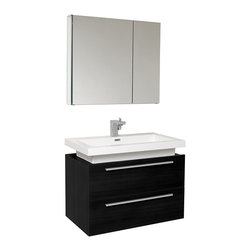 "Fresca - Fresca Medio Black Vanity w/ Medicine Cabinet - Dimensions of vanity:  31.38""W x 18.75""D x 24""H. Dimensions of medicine cabinet:  29.5""W x 26""H x 5""D. Materials:  MDF with acrylic countertop/sink with overflow. Soft closing drawers. Single hole faucet mount. P-trap, faucet, pop-up drain and installation hardware included. Striking in its simplicity, this vanity offers modern sophistication to your bathroom. This vanity is wall mounted with two pull out drawers for storage.  Fits virtually anywhere!"
