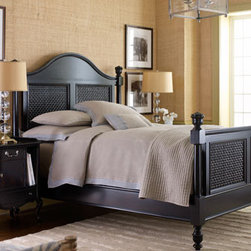 "Rattan Bedroom Furniture - Rattan combined with solid birch, painted in vintage black with a rub-through finish, gives this beautiful bed a dramatic and stately appearance.  Extra details include woven wood raffia basket-weave accents.    * Queen bed, 87.3""L x 66.8""W x 66""T.    * King bed, 87.3""L x 82.8""W x 66""T.    * Nightstand has one door and two drawers; 23""W x 18""D x 31""T.Pricing is for Queen size bed."