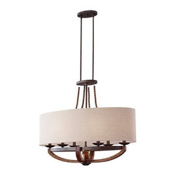 Murray Feiss - 6 Bulb Rustic Iron / Burnished Wood Chandelier - - cUL Dry Approved.
