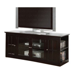 "Coaster - TV Console (Espresso) By Coaster - Contemporary style. Two glass doors. Two shelves behind doors. Two open shelves on each side. Smooth top with straight edges. Clean lines, straight edges and plinth bases. Simple silver tone metal knobs. Made from medium density fiberboard. Deep dark espresso wood finish. 60 "" W x 20 "" D x 26.5 "" H.  This elegant media console will be a stylish addition to your living room, offering clean lines and ample storage space."