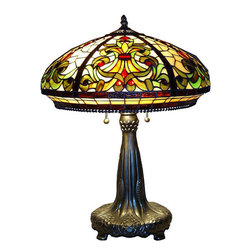 Warehouse of Tiffany - Tiffany-style Classic Table Lamp - This classic table lamp has been handcrafted using the same techniques that were developed by Louis Comfort Tiffany in the early 1900s. This elegant piece contains hand-cut pieces of stained glass in vivid colors such as amber and green, each wrapped in fine copper foil. This lamp is sure to dress up any room in your home with its traditional look.