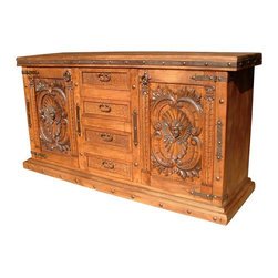 Mexican Artisans - Angels Carved Wood Buffet - Indeed Decor's divine Angels Carved Wood Buffet will become a focal point in any style dining room.  This exquisite work of art is large enough to store all of your entertaining essentials and features four drawers and two doors for easy access. This grand buffet measures 84″W x 44″H x 22″D.