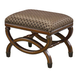 Sterling Industries - Sterling Industries 6093191 Leonardo Bench - Classic Single Person Bench With Beautiful Carved Base.  The Cushion Is Upholstered In Burgundy Velvet, With Antique Gold Pattern Stamped On The Fabric.  The Base Is Finished In An Antique Fruitwood Finish.  Also Available In Da Vinci Bench With Caster Wh  Bench (1)