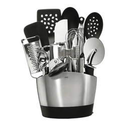 "OXO - Everyday Kitchen Tool Set (15Pc.) - Have all your essential kitchen tools in quick reach with OXO's Good Grips 15 Piece Everyday Kitchen Tool Set. With our slim-lined, space efficient Stainless Steel Utensil Holder, you'll be able to store a collection of OXO's most important every day kitchen tools and gadgets. This set includes our Stainless Steel Utensil Holder which holds our Nylon Flexible Turner, 12"" Tongs with Nylon Heads, Nylon Square Turner, Nylon Spoon, Nylon Slotted Spoon, Grater, Swivel Peeler, Ice Cream Scoop, Potato Masher, Soft-handled Can Opener, 11"" Balloon Whisk, Silicone Spatula, Meat Tenderizer and a 4"" Pizza Wheel. Whether it's your first set of kitchen tools or enhancing your current set, the OXO 15 Piece Everyday Kitchen Tool Set will bring value, function and style to any kitchen. Features: -Kitchen tool. -Material: Stainless steel. -Soft, non-slip handles. -Nylon tools are heat resistant up to 400 degrees. -Nylon and Silicone tools are safe for non-stick surfaces. -Large capacity utensil holder includes a removable drip tray. -Dishwasher safe. -Weight: 5 lb. 13 oz.. -Dimensions: 8.4"" H x 4.75"" W x 15"" D."