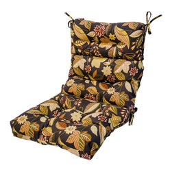 None - 44x22-inch 3-section Outdoor Timberland Floral High Back Chair Cushion - This three-section high-back chair cushion offers circle tacks to create secure compartments which prevent the cushion fill from shifting. String ties secure cushions to outdoor furniture.
