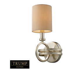 Elk Lighting - Elk Lighting 31010/1 New York 1-Light Sconce in Renaissance Silver - 1-Light Sconce in Renaissance Silver belongs to New York Collection by Taking Styling Cues From The Art Deco Period, The Trump Home��_��_��__��__ New York Collection Features Clean Lines And Unique Design Elements. The Lights Are Supported By Rings That Gracefully ��_��_��_��_��_Float��_��_��_��_��_ Around A Larger Double Ring. Finished In Renaissance Silver Leaf With Cream Fabric Shades, This Series Is Versatile And Contemporary. Shades Are Optional On Items With Crystal. Sconce (1)