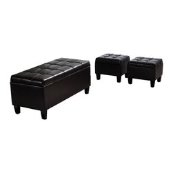 Simpli Home - Dover 3 Piece Rectangular Brown Faux Leather Storage Ottoman - Great things come in small packages.  When you are looking for a tasteful, well made storage solution with extra seating ottomans, look no further than the Dover 3 Piece Large Rectangular Storage Ottoman Bench.  It is made from durable Brown Faux Leather and is extra strong and durable.  It features a beautiful pleated stitched leather exterior, two extra footstool ottomans  and a large storage interior.  Whether you use this ottoman in your entryway, living room, family room, basement or bedroom, it will allow you to hide away all that mess and get some extra seating.