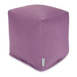 Majestic Home Goods - Lilac Small Cube - Add style and color to your living room or outdoor seating arrangement with Majestic Home Goods Lilac Small Cube Ottoman. This cube is perfect for use as a footstool, side table or as extra seating for guests. Woven from outdoor treated polyester, these cubes have up to 1000 hours of U.V. protection and are able to withstand all of nature��_s elements. The beanbags are eco-friendly and feature a zippered slipcover. Spot clean slipcover with mild detergent and hang dry. Do not wash insert.