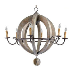 Cyan Design - Barrell Chandelier - Wood with stained finish
