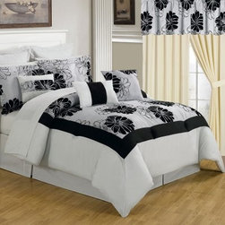 Lavish Home 25 Piece Room-In-A-Bag Madison Bedroom Set - The best way to get a complete room update, the Lavish Home 25 Piece Room-In-A-Bag Rachel Bedroom Set includes everything from window treatments to bedding. Its large-scale florals in contemporary black and white with luxurious flocked details make the collection stunning. Perfect for your guest bedroom or any bedroom! The collection is made of soft polyester and coordinates together perfectly. The comforter is overfilled and oversized for maximum comfort and style. All pieces are machine-washable in cold water; tumble-dry on low.Set Includes:1 Comforter1 Bedskirt: 15D in.2 Pillow shams: 20 x 36 in.3 Euro pillow shams: 26 x 26 in.4 Decorative pillows1 Flat sheet1 Fitted sheet2 Pillowcases4 Window panels: 56 x 84 in.2 Window valances: 84W x 15L in.4 Curtain tie-backsComforter Dimensions:Queen: 92L x 92W in.King: 106L x 92W in.About Trademark Global Inc.Located in Lorain, Ohio, Trademark Global offers a vast selection of items for your home and lifestyle. Whether you need automotive products, collectibles, electronics, general merchandise, home and garden items, home decor, housewares, outdoor supplies, sporting goods, tools, or toys, Trademark Global has it at a price you can afford. Decor items and so much more are the hallmark of this company.