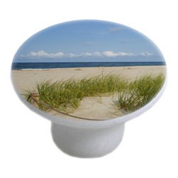 Carolina Hardware and Decor, LLC - Grassy Beach Ceramic Cabinet Drawer Knob - 1 1/2 inch white ceramic knob with one inch mounting hardware.  Great as a cabinet, drawer, or furniture knob.  Adds a nice finishing touch to any room!