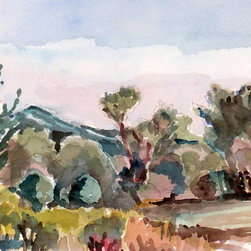Watercolor Landscape Painting - Impressionistic plein air original, one of a kind watercolor landscape.