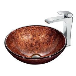 Vigo - Vigo Mahogany Moon Vessel Sink and Blackstonian Faucet Set, Chrome (VGT179) - Vigo VGT179 Mahogany Moon Vessel Sink and Blackstonian Faucet Set, Chrome