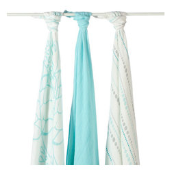 Aden and Anais - Aden and Anais Azure Bamboo Swaddles Set of 3 - The ultimate in swaddling comfort brought to you and baby by bamboo!