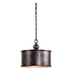 Uttermost - Uttermost 21921  Albiano 1 Light Oxidized Bronze Pendant - Complex tonalities of metallic oxidation enrich these classic, simple shapes.