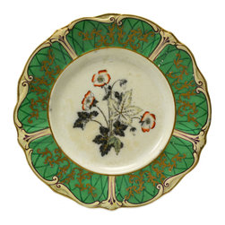 Lavish Shoestring - Consigned 10 Green Blue and Red Dinner Plates S Keeling & Co, Antique English - This is a vintage one-of-a-kind item.