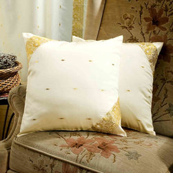 Indian Selections - Set of 2 Cream Decorative Handcrafted Sari Cushion Cover, 18x18 inches - 6 Sizes available