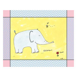 Oh How Cute Kids by Serena Bowman - Chevron Blue - Elephant, Ready To Hang Canvas Kid's Wall Decor, 16 X 20 - Every kid is unique and special in their own way so why shouldn't their wall decor be so as well! With our extensive selection of canvas wall art for kids, from princesses to spaceships and cowboys to travel girls, we'll help you find that perfect piece for your special one.  Or fill the entire room with our imaginative art, every canvas is part of a coordinating series, an easy way to provide a complete and unified look for any room.