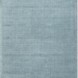 None - Hand-Made Blue Wool/ Art Silk Plush Pile Rug (5x8) - Hand-Made Blue Wool/ Art Silk Plush Pile Rug (5x8)