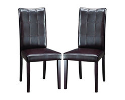 Wholesale Interiors - Eugene Modern Dining Chair in Dark Brown - Se - Set of 2. Contemporary dining chairs. Rubber wood construction. Faux leather seat. Polyurethane foam cushioning. Assembly required. 17 in. W x 21 in. D x 38 in. H. Seat height: 18 in.A basic design with subtle detail, the Eden Dining Chair is also versatile and oh so stylish. A foam padded seat with dark brown faux leather features rectangle panels stitched together to form the backrest. Each chair is also made with a rubber wood frame and legs in a dark brown wood veneer finish.