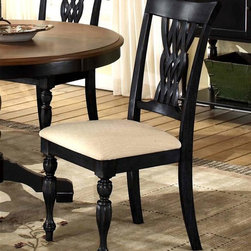 Hillsdale - Embassy Side Chair w Carved Legs - Set of 2 - For residential use. Set of 2. Woven laced wood back. Tall rectangular silhouette. Rubbed Black Finish. 23 in. W x 19.25 in. D x 40 in. HRich in traditional design, the woven laced wood back and tall rectangular chair silhouette creates the impression of timeless elegance.  This chair is sure to make a statement in your kitchen or dining table.