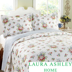 Laura Ashley - Laura Ashley 3-piece Roseland White Floral Cotton Reversible Quilt Set - Give your bed a makeover with this luxurious cotton quilt set by Laura Ashley. A tasteful floral pattern in shades of red, pink, and green ties the quilt and shams together. Since this bedding is machine washable, it's easy to keep it looking new.
