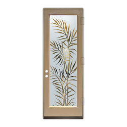 Sans Soucie Art Glass (door frame material Plastpro) - Glass Front Entry Door Sans Soucie Art Glass Ferns - Sans Soucie Art Glass Front Door with Sandblast Etched Glass Design. Get the privacy you need without blocking light, thru beautiful works of etched glass art by Sans Soucie!This glass is semi-private. Door material will be unfinished, ready for paint or stain.Bronze Sill, Sweep and Hinges. Available in other finishes, sizes, swing directions and door materials.Tempered Safety Glass.Cleaning is the same as regular clear glass. Use glass cleaner and a soft cloth.