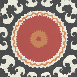 Red Modern Medallion Wallpaper