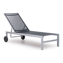 Zuo Modern - Wheeled Chaise Lounge - Durable. UV and water resistant polyester fiber cover. Warranty: One year limited. Made from aluminum. Black and silver color. No assembly required. 61 in. L x 24.5 in. W x 42 in. H (35 lbs.)Sleek and modern, lounge in style with the Castle Peak Lounge Chair.