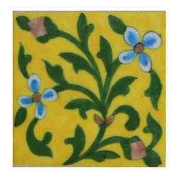 "Knobco - Tiles 4X4""Inch, Yellow Base And Green Leaves - Yellow Base and Green Leaves 4x4 Tile from Jaipur, India. Unique, hand painted tiles for your kitchen or  other tiling project. Tile is 4x4"" in size."