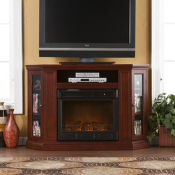 """Holly & Martin™ Ponoma Convertible Media Electric Fireplace-Cherry - Firebox front - 23"""" Wide x 20"""" Tall"""