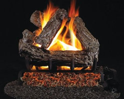 Real Fyre Rustic Oak Vented Gas Log Set - The Real Fyre Rustic Oak Vented Gas Log Set brings a high degree of realism to your indoor lodge gas fireplace. This hand-painted refractory ceramic log set is modeled from real wood samples, with realism, texture, and nuance straight from nature. They burn efficiently while protecting natural resources and reducing pollution, providing real radiant heat for your home. Each is supported by steel rods in the center, and artfully placed about a steel burner and powder-coated grate. Choose 18 or 24 inches to fit your standard direct vent fireplace Choose propane or natural gas power source Silica sand and platinum embers included with every model Optional pilot kit and remote control Manufacturer's lifetime warranty included Heating Output Propane 18-inch: 45,000 BTU Propane 24-inch: 65,000 BTU Natural gas 18-inch: 70,000 BTU Natural gas 24-inch: 90,000 BTU Note: It is recommended that you use a professional installer to ensure the safety of the exhaust system. A licensed contractor should be contacted for installation of all products involving gas lines. About Real FyreReal Fyre understands more about the amazing things that happen when flame and good food meet. For the last 70 years, they've set out to create the singularly best way to cook food outdoors, using the highest-quality materials, innovative design, and an absolutely relentless pursuit of perfection. With a complete line of luxury-grade grills, burners, accessories, and built-in grill island components, Real Fyre is ready to turn your home into the world's best outdoor kitchen.