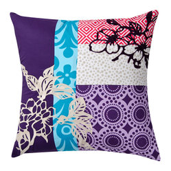 KOKO - Wallpaper Pillow, Purple - What an artful mix of patterns. All these prints mixed with the embroidery work give it a modern quilted look. This would really pop on a white couch or on crisp white bedding. You could also pair it with stripes or color-blocked pillows in a similar palette.