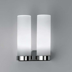 AI Lati Lights - Stick 65 CFL Twin Wall Sconce - Stick 65 CFL Twin Wall Sconce features a satin finish Opal triplex blown glass diffuser with closed top. Finish in Chrome. Available in four sizes. Small: Requires one 26 watt 120 volt G24q-3 compact fluorescent lamp, not included. 2.6 inch width x 8.3 inch height x 4.5 inch depth. Medium: Requires one 24 watt 120 volt 2G11 compact fluorescent lamp, not included. 2.6 inch width x 13.8 inch height x 4.5 inch depth. Large: Requires one 36 watt 120 volt 2G11 compact fluorescent lamp, not included. 2.6 inch width x 17.8 inch height x 4.5 inch depth. Extra Large: Requires one 55 watt 120 volt 2G11 compact fluorescent lamp, not included. 2.6 inch width x 24.1 inch height x 4.5 inch depth. Dimmable ballast available by special order. For indoor dry locations only.