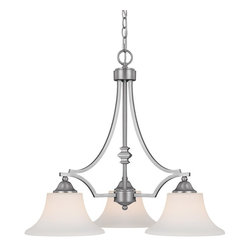 Capital Lighting - Capital Lighting Towne & Country Transitional 3-Light Chandelier X-211-NM3204 - Sharp points make for a soothing design and that's what you get in this contemporary town & country transitional 3-light chandelier. The soft white glass shade is romantic and comforting and it provides a friendly and exceptional shine for your living room, basement, hacienda, or restaurant. The matte nickel finish is made to last and it brings a smile to your face.