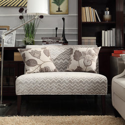 Inspire Q - INSPIRE Q Wicker Park Grey Chevron Armless Loveseat - This Kayla armless loveseat is covered in an elegant print upholstery that will brighten up your home decor. The simple color scheme and the understated hardwood,rich espresso legs make this loveseat an easy addition to any room in your home.