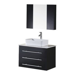 """Design Element - Design Element Portland 30"""" Wall Mount Single Vessel Sink Vanity Set - Espresso - The Portland 30"""" Vanity set is elegantly constructed of solid hardwood. The porcelain rectangular sink with rounded edges and carrera white marble counter top bring a clean contemporary and elegant look to any bathroom. The sink is installed with a chrome finished pop up drain designed for easy one touch draining. The three large drawers run the width of the unit and are adorned with satin nickel hardware. The vanity mirror and two espresso cabinets are installed with soft closing hinges providing plenty of storage space. The Portland Collection Bathroom Vanity is designed as a center piece to awe-inspire the eye without sacrificing quality, functionality or durability."""