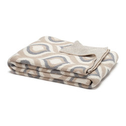 in2green - Eco Royal Throw, Flax/Aluminum - Feel like royalty wrapped in this soothing print, in either a two- or three-tone blend of warm earthtones.