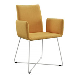 Lilou Yellow Fabric Dining Chair - The high density foam seat is upholstered in yellow fabric. The frame and legs are made of metal.