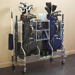 Frontgate - Double Golf Organizer - Designed to hold golf shoes, extra clubs, towels, and boxes of golf balls. Side rings store golf clubs. Conveniently placed towel bars assist with quick cleanup. Chrome-plated steel frame with stainless steel panels, and easy-clean plastic shelf liners. Shelf weight capacity is 175 lbs.; when moving the organizers weight should not exceed 150 lbs.. Meticulously crafted with the serious golfer in mind, our Golf Organizers store golf bags, shoes, clubs, and playing gear in a sturdy 3-shelf organization center. . . . . . Optional casters make relocation easy (sold separately). Assembly required; view instructions .