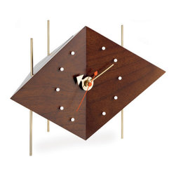 Nelson Diamond Desk Clock - hivemodern.com - Designed by George Nelson in 1953, the diamond desk clock will add interesting geometry, wood and metal to your desk top or bedside table.