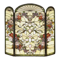Meyda Tiffany - Meyda Tiffany 47991 Heart Fireplace Screen - This charming Meyda Tiffany original stained glassfirescreen depicts a heart shaped ring of Merlot andPink roses, Daisy and Violet blossoms, and Willow Greenleaves that surround ribbons and scrolls against anIvory background. The brass frame has a dark ha