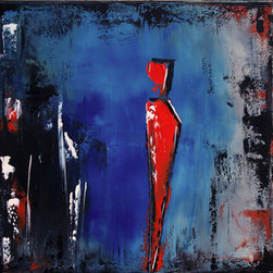 Standing Alone (Original) by Modernartbyada - Title: Standing Alone  Made on 24x24x0.50 canvas - contemporary abstract one of a kind original painting. It has a distressed  look with an original  design.  This painting can be hung on a wall or set on shelf.