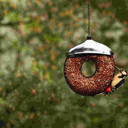 PineBush - Doughnut Peanut Feeder - Doughnut Peanut Feeder. Contemporary styling. Stainless steel rain cover.