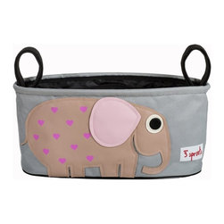 3 Sprouts - 3 Sprouts Stroller Organizer, Elephant - Hit the road with our 3 Sprouts pink Stroller Organizer in cute elephant pattern. It keeps all your essentials organized and within reach when you are out for a walk with your tot. Our stroller organizer is completely wipeable and has two insulated drink holders, perfect for a sippy cup or bottle. The main cargo area holds tons of stuff from that kicked off shoe, discarded sun hat or favorite snack.
