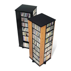 Prepac - Prepac 4-Sided Spinning CD DVD Media Storage Tower in Oak and Black - Prepac - CD & DVD Media Storage - OMS0800K - This spinner holds over 800 CDs in just over one square foot of floor space making it ideal for large collections in limited spaces. A versatile unit it spins effortlessly to allow access to your collection from all four sides. Fully adjustable shelves can be set to any position to accommodate your collection. Horizontal media storage allows for easy sorting filing and re-filing of your collection as it grows.