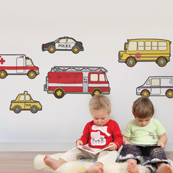 Simple Shapes - Emergency and Service Vehicles - Police car, ambulance and a fire trucks! Use your walls and our Peel & Stick Wall Stickers a learning tool! Each vehicle is its own fabric sticker that your child can peel off and stick to the wall. You will love the fact that they can peel off and move the stickers around as they please.